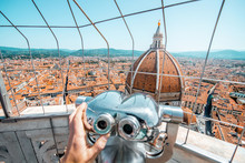 Top View From The Bell Tower With Binocular On The Dome Of Santa Maria Del Fiore Church And Old Town In Florence
