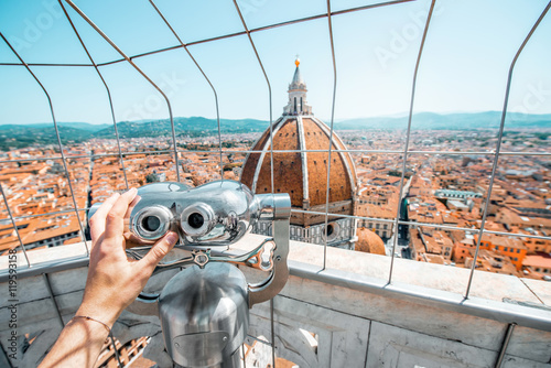 Valokuva  Top view from the bell tower with binocular on the dome of Santa Maria del Fiore