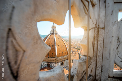 Photo Stands Florence View through the gothic rose window on Duomo cathdral in Florence