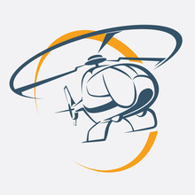 Helicopter Icon, Stylized Vect...