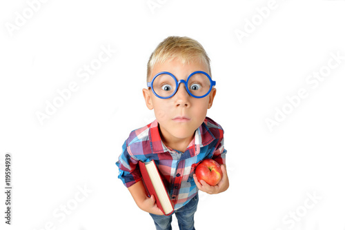 Fotografie, Obraz  Wide angle close-up portrait of boy a student in shirt in glasses hugging book a