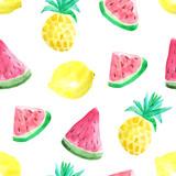 Bezszwowy wzór z akwarela ananasami - 119597599