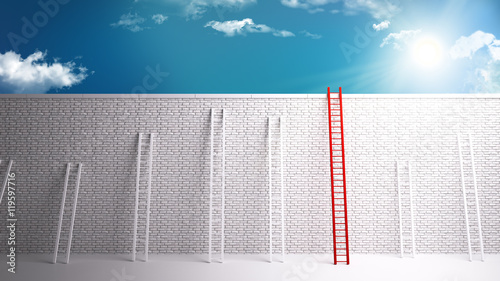 Fotografía  Overcoming the wall to success, 3D rendering of a white brick wall separating from success