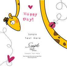 Giraffe And A Ladybug