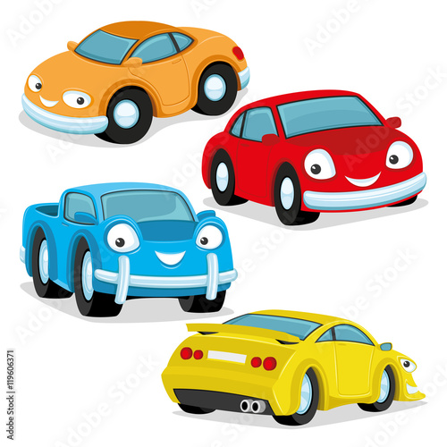 Spoed Foto op Canvas Cartoon cars Cute colorful cars.