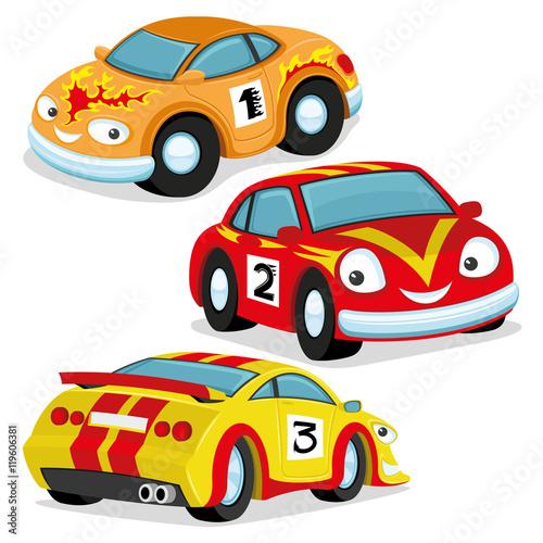 Staande foto Cartoon cars Cute racing cars.