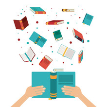 Book Open Set Hand Read Library Literature Learning Knowledge Icon. Colorful Design. Vector Illustration