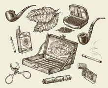 Tobacco. Vector Collection Smoking. Hand-drawn Sketch Pack Of Cigarettes, Lignter,  Pipe, Cigar,  Leaf, Cigarette Case