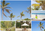 Collage with sandy beach, palm trees, umbrella and fresh juice