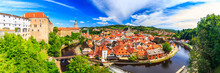 Beautiful Panoramic Landmark View To Church And Castle In Cesky Krumlov, Czech Republic. UNESCO World Heritage Site