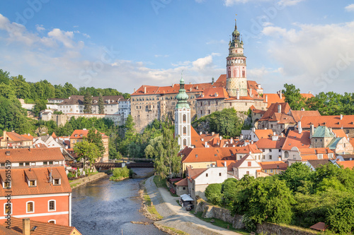 Photo  View over Cesky Krumlov with Moldau river in Summer, Czech Republic
