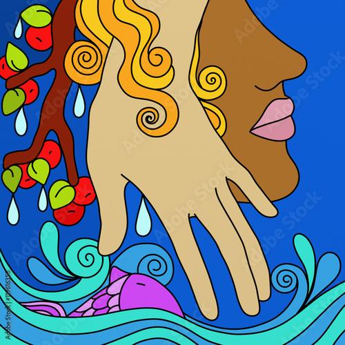 Montage in der Fensternische Klassische Abstraktion hand and blue ocean