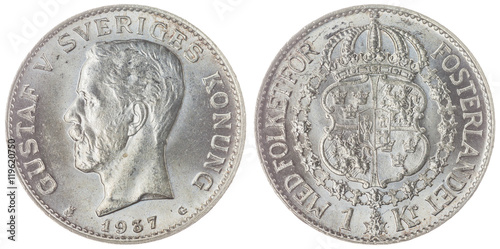 Valokuva  1 krone 1937 coin isolated on white background, Sweden