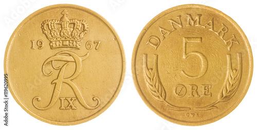 Fotografia  5 ore 1967 coin isolated on white background, Denmark