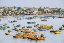 Fishing Boats In Harbor At Mui Ne, Phan Thiet, Binh Thuan Province, Vietnam