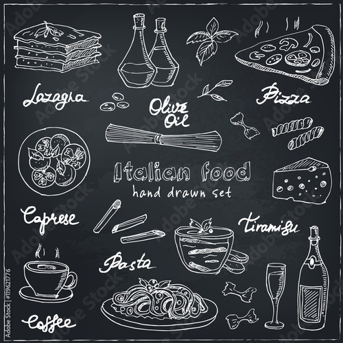 Foto  Vector hand drawn set with italian food. Vintage illustratio