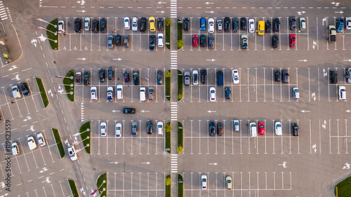 Valokuva  Car parking lot viewed from above, Aerial view. Top view