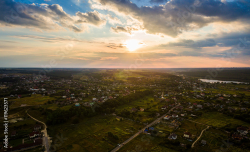 In de dag Rio de Janeiro Panoramic view of the Kiev suburb in the sunset from above. Aerial view. Outdoor.