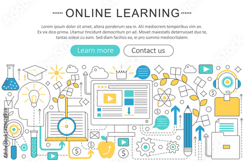 vector elegant thin line flat modern art design e learning online