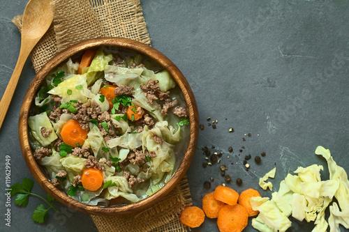 Wirsingkohl Eintopf mit Hackfleisch, Karotte und Kartoffel, fotografiert mit natürlichem Licht (Selektiver Fokus, Fokus auf den Eintopf)