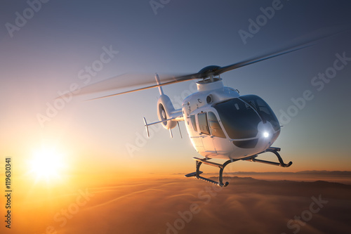 Helicopter Sunset Flight 2 Tableau sur Toile