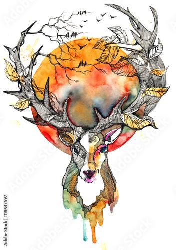 Foto auf Leinwand Gemälde autumn