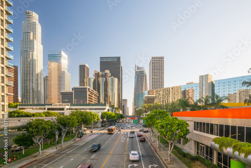 Photo sur Toile Los Angeles Downtown Los Angeles skyline