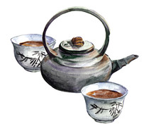 Tea Ceremony Watercolor Picture