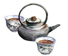 Tea Ceremony Watercolor Picture