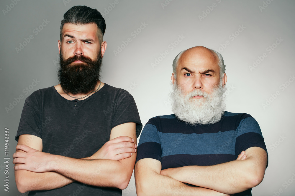 Fototapeta Old and young bearded men