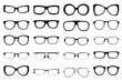 Leinwanddruck Bild Set of fashion glasses style isolated on white background. vecto