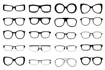 Set of fashion glasses style isolated on white background. vecto