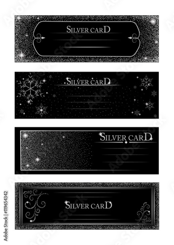 Fototapeta Vector banners and cards silver sparkles on black background. Banners voucher, store, present, shopping, sale, logo, web, card, vip, exclusive, certificate, gift, luxury, privilege obraz na płótnie