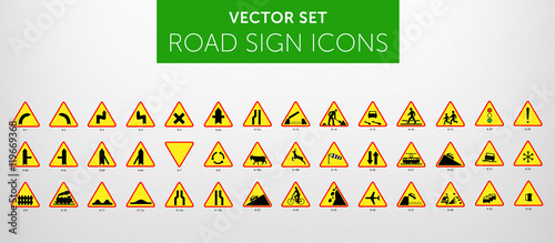 Fotografía  ROAD SIGNS | Znaki Drogowe Ostrzegawcze - vector icon PACK vol.1