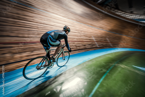 Aluminium Prints Cycling Sportsman with cycle