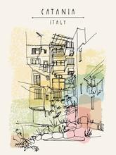 Catania, Sicily, Italy. Illust...