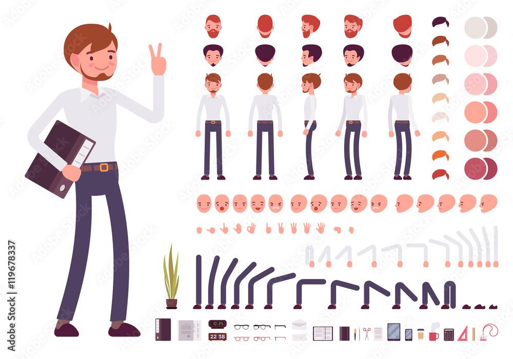 Fototapeta Male clerk character creation set. Build your own design. Cartoon vector flat-style infographic illustration