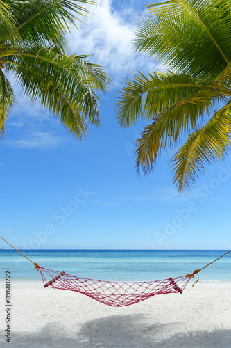 Photo  Hammock on a perfect paradise beach - Bohol, Philippines