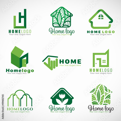 Green home logo nature and modern concept vector set for Modern house logo