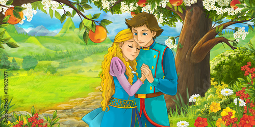 Cartoon scene with cute royal charming couple on the meadow - illustration for children