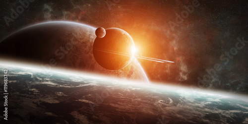 Fotografie, Tablou Sunrise over distant planet system in space 3D rendering element