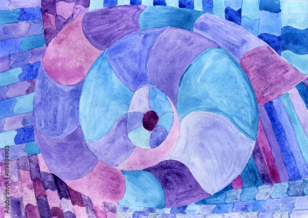 Watercolor Nautilus Picasso in blue. Sea theme watercolor. Sea Picasso.