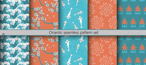 Fotografia, Obraz  Oriantic seamless pattern set