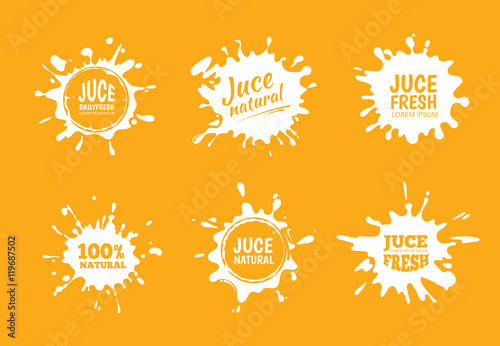 Obraz na płótnie Vector illustration set of Yellow juice or honey labels.