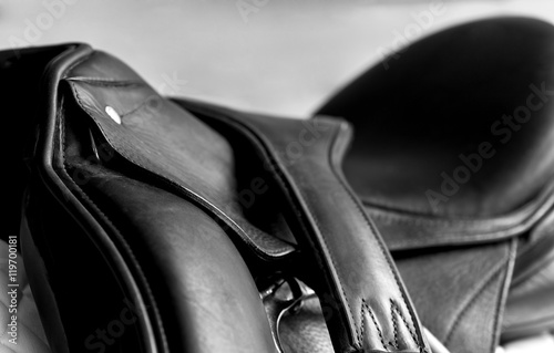Foto op Aluminium Paardrijden Used Dressage Riding Saddle and Girth