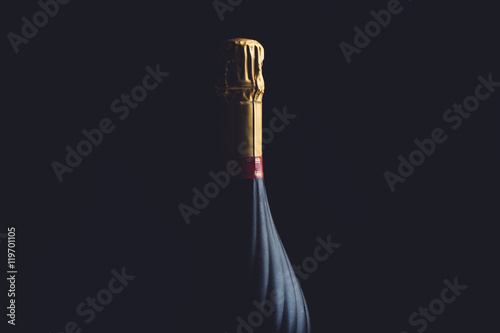 Fotografie, Obraz  Champagne bottle on a black background with space for text