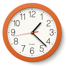 Classic Round Wall Clock In Orange Body Isolated On White