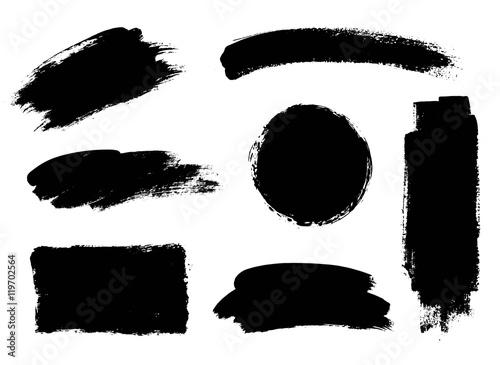Vector set of grunge artistic brush strokes, design elements. Empty ...