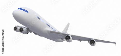 White Four-engine Airplane, White Aeroplane Isolated On White