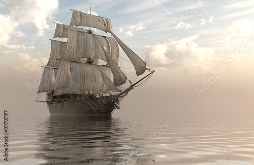 Fotografía  3D Illustration Sailboat On The Sea